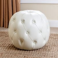 Abbyson Ivory Grand Tufted Leather Ottoman