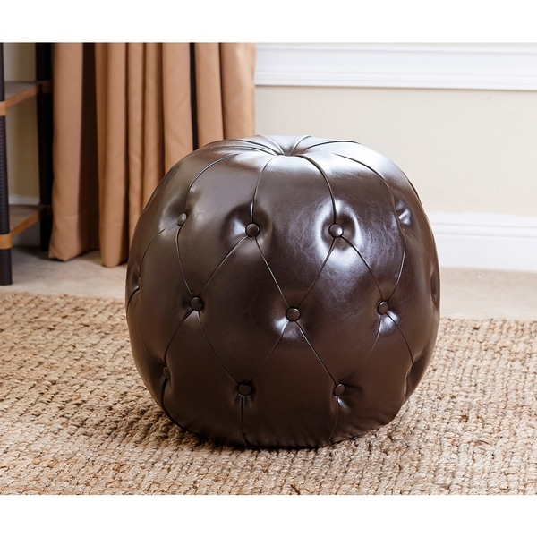 shop abbyson dark brown grand tufted leather ottoman free shipping today. Black Bedroom Furniture Sets. Home Design Ideas