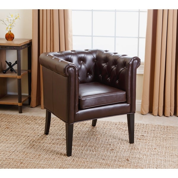 Abbyson Chesterfield Brown Bonded Leather Tufted Dining Chair