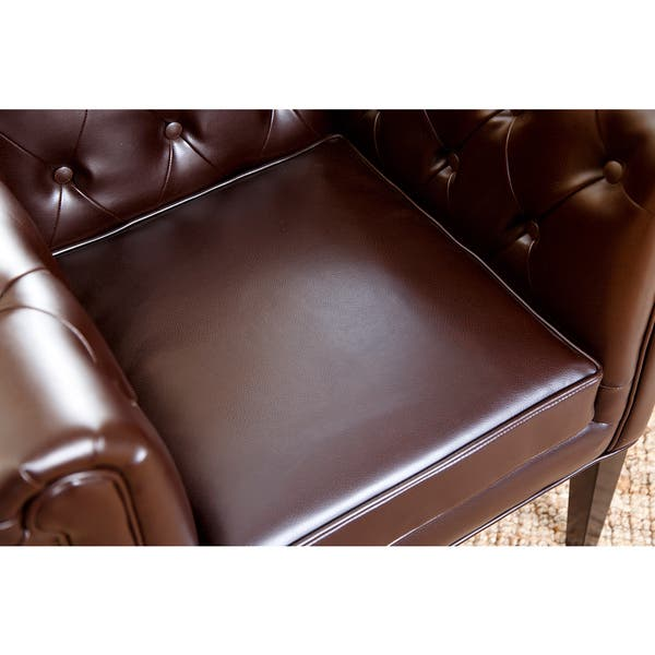 Astounding Shop Abbyson Chesterfield Brown Bonded Leather Tufted Dining Ibusinesslaw Wood Chair Design Ideas Ibusinesslaworg
