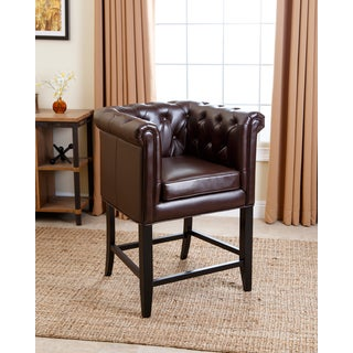 ABBYSON LIVING Chesterfield Dark Brown Leather Counter Stool