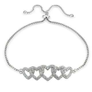 Icz Stonez Silver Cubic Zirconia Intertwining Heart Adjustable Bolo Bracelets
