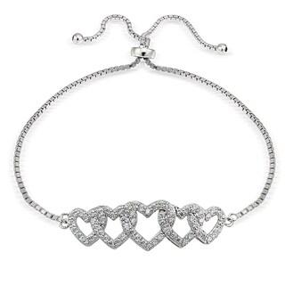 Icz Stonez Silver Cubic Zirconia Intertwining Heart Adjustable Slider Bracelets