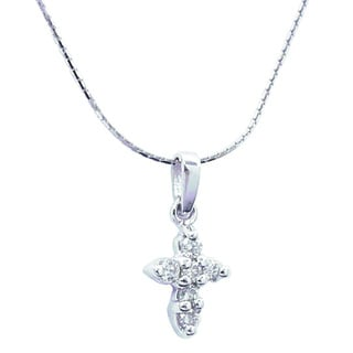 14k Gold 1/5ct TDW Diamond Cross Necklace