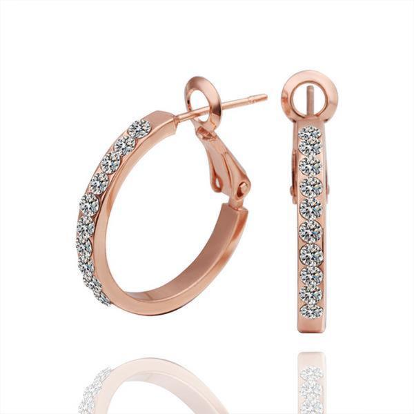 Vienna Jewelry 18K Rose Gold Hoop Earrings Covered with Jewels Made with Swarovksi Elements