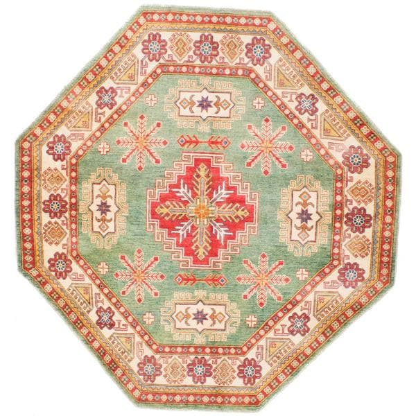 Ecarpetgallery Hand-knotted Finest Gazni Green Wool Rug (6'11 x 6'11)
