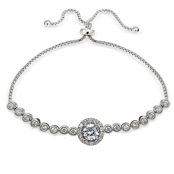 ab77ad6a491 Icz Stonez Sterling Silver Cubic Zirconia Halo Adjustable Slider Bracelet