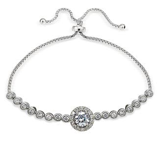 Icz Stonez Sterling Silver Cubic Zirconia Halo Adjustable Slider Bracelet|https://ak1.ostkcdn.com/images/products/11588970/P18529057.jpg?impolicy=medium