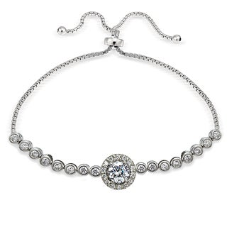 Icz Stonez Sterling Silver Cubic Zirconia Halo Adjustable Slider Bracelet