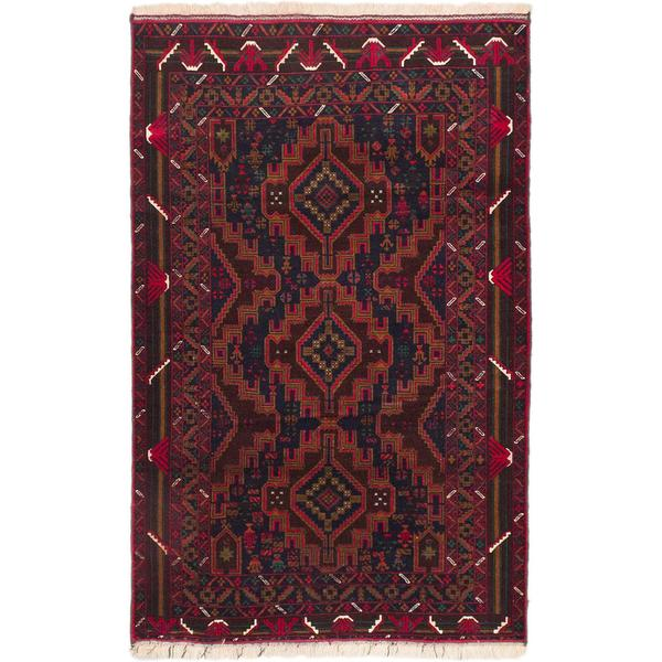 Ecarpetgallery Hand-knotted Teimani Blue and Red Wool Rug (3'10 x 6')
