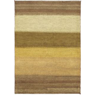Ecarpetgallery Hand-knotted Indian Gabbeh Beige Wool Rug (4'7 x 6'7)
