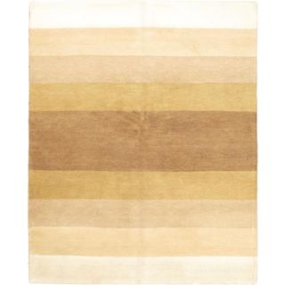 Ecarpetgallery Hand-knotted Indian Gabbeh Beige Wool Rug (6'7 x 8'2)