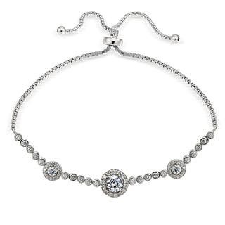 Icz Stonez Silver Cubic Zirconia 3 Halo Adjustable Slider Bracelet|https://ak1.ostkcdn.com/images/products/11588997/P18529059.jpg?impolicy=medium