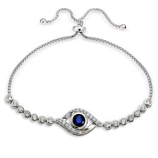 Icz Stonez Silver Cubic Zirconia Evil Eye Adjustable Bolo Bracelet