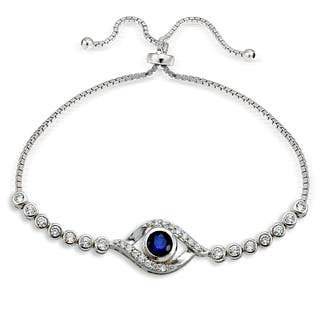 Icz Stonez Silver Cubic Zirconia Evil Eye AdjustableSlider Bracelet|https://ak1.ostkcdn.com/images/products/11588999/P18529058.jpg?impolicy=medium