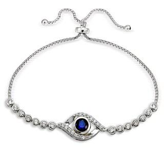 Icz Stonez Silver Cubic Zirconia Evil Eye AdjustableSlider Bracelet