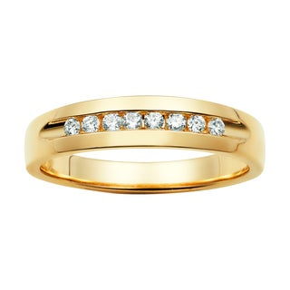 Boston Bay Diamonds 3/4ct TDW Channel Set 5 Stone Men's Diamond Wed Band in 14k Gold