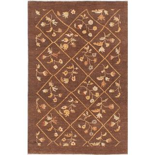 Ecarpetgallery Hand-knotted Peshawar Ziegler Brown Wool Rug (4'1 x 6'1)