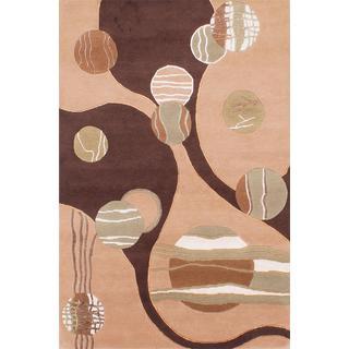 Ecarpetgallery Hand-knotted Aurora Beige Wool and Silk Rug (4' x 6')