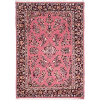 Ecarpetgallery Hand-knotted Sarough Pink Wool Rug (4'1 x 5'10)
