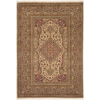 Ecarpetgallery Hand-knotted Jamshidpour Beige and Green Wool Rug (4'1 x 6'1)