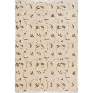 Ecarpetgallery Hand-knotted Peshawar Ziegler Beige Wool Rug (4' x 5'10)
