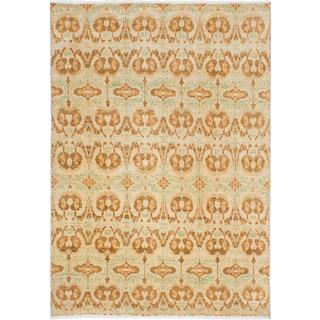 Ecarpetgallery Hand-knotted Finest Ushak Beige and Brown Wool Rug (6' x 8'9)