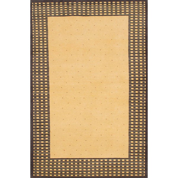 Ecarpetgallery Hand-knotted Eternity Gabbeh Yellow Wool Rug (4' x 6'3)