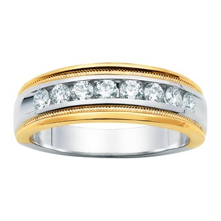 Boston Bay Diamonds 14k White and Yellow Gold Men's 3/4ct TDW Diamond Wedding Band Ring (I, I1)