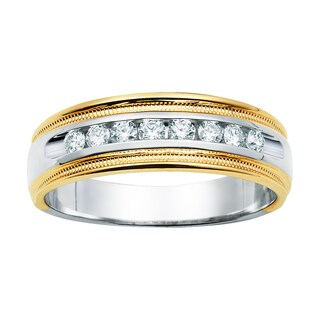Boston Bay Diamonds 14k White and Yellow Gold Men's 1/3ct TDW Diamond Band (I, I1)