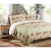 Greenland Home Fashions  Voltaire Rose and Mint Vermicelli Cotton 3-piece Quilt Set
