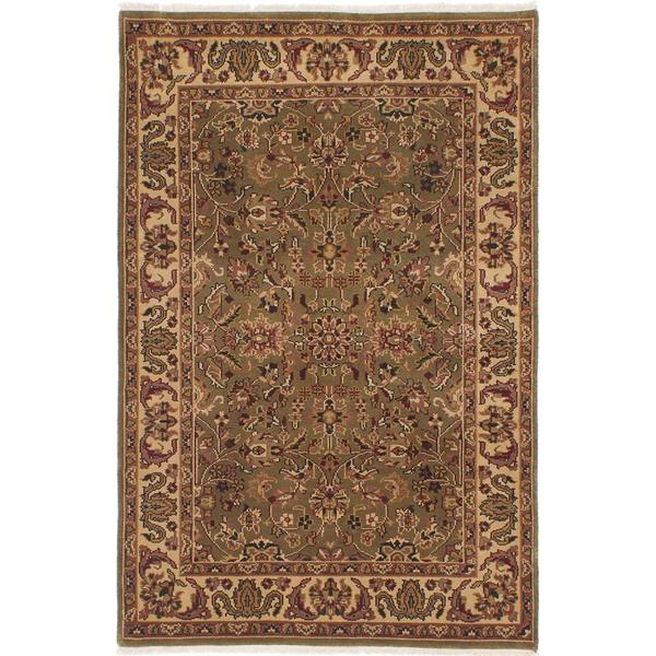 Ecarpetgallery Hand-knotted Finest Agra Jaipur Green Wool Rug (4'1 x 6'2)