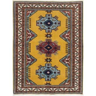 Ecarpetgallery Hand-knotted Caucasus Shirvan Yellow Wool Rug (5' x 6'9)