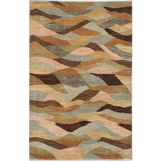 Ecarpetgallery Hand-knotted Peshawar Ziegler Brown and Grey Wool Rug (4'1 x 6'5)