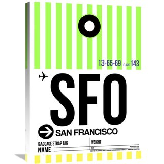 Naxart Studio 'SFO San Francisco Luggage Tag 3' Stretched Canvas Wall Art