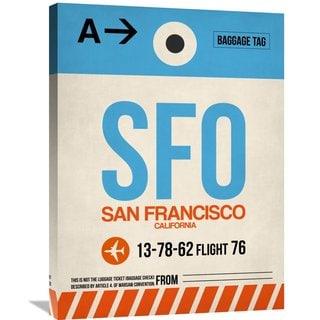 Naxart Studio 'SFO San Francisco Luggage Tag 1' Stretched Canvas Wall Art