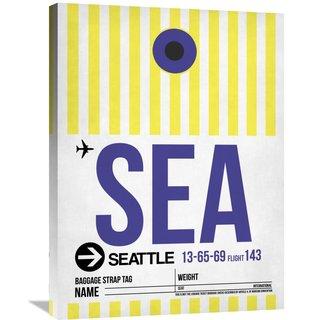Naxart Studio 'SEA Seattle Luggage Tag 1' Stretched Canvas Wall Art