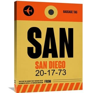 Naxart Studio 'SAN San Diego Luggage Tag 1' Stretched Canvas Wall Art