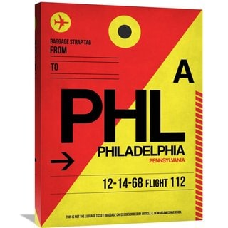 Naxart Studio 'PHL Philadelphia Luggage Tag 2' Stretched Canvas Wall Art