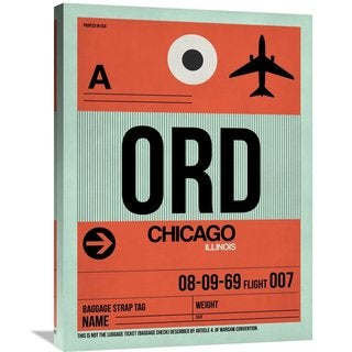 Naxart Studio 'ORD Chicago Luggage Tag 2' Stretched Canvas Wall Art
