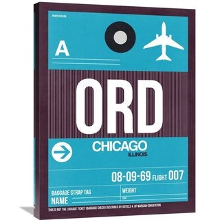 Naxart Studio 'ORD Chicago Luggage Tag 1' Stretched Canvas Wall Art