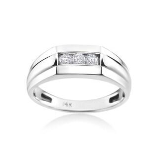 Andrew Charles 14k White Gold Men's 1/4ct TDW Diamond Ring