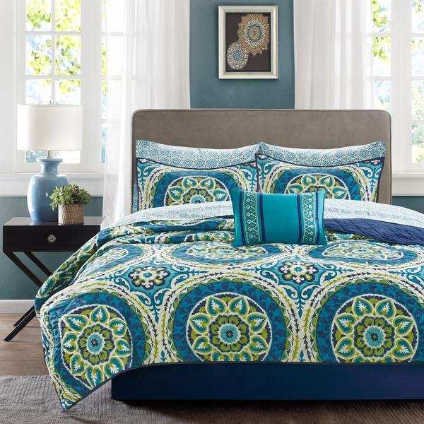 Madison Park Essentials Odisha Blue Complete Coverlet and Cotton Sheet Set