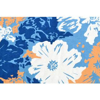 Hand-Hooked Hubiscus Blue /Polyester Rug (5'X8')