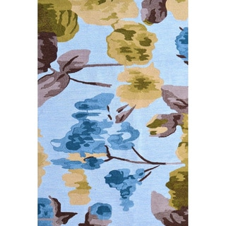 Hand-Hooked Hibiscus /Polyester Rug (5'X8')