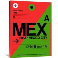 Naxart Studio 'MEX Mexico City Luggage Tag 2' Stretched Canvas Wall Art