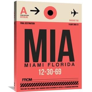 Naxart Studio 'MIA Miami Luggage Tag 1' Stretched Canvas Wall Art