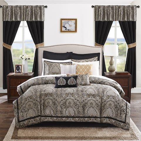 Madison Park Essentials Christine Black 24-Piece Room in a Bag-Window Panels & Sheet Set Included