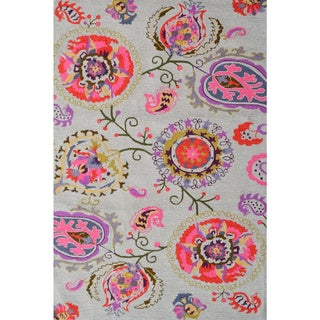 Hand-Hooked Suzano Pink /Polyester Rug (5'X8')