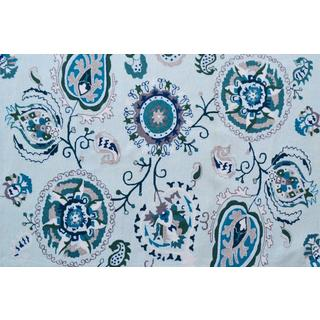 Hand-Hooked Suzano Blue /Polyester Rug (5'X8')